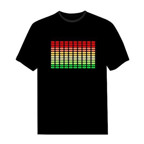 Blitz Party Der Kostüm - Lepeuxi LED T-Shirt Sprachaktivierter Blitz für Party Rock Disco Night Club für Mann und Frau