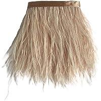 Sowder avestruz plumas bordes adornados con cinta de satén cinta para manualidades de costura para vestidos Disfraces Decoración Pack de 2yardas