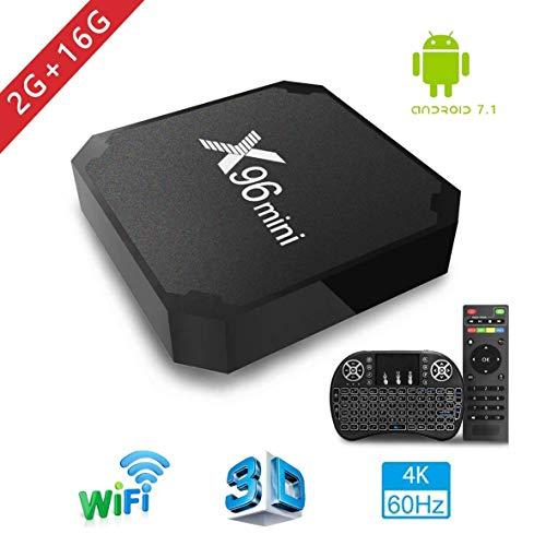 Android TV Box, x96 Mini Smart TV Box avec Mini Clavier Android 7.1 Neueste Amlogic s905 W Quad Core Prozeßor, 4 K Ultra HD H.265, 2 x USB-anschluss, HDMI, WiFi Media Play