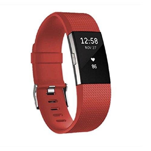 jomoq Fitbit Charge2braccialetti & # xFF0C; Cinturino di ricambio in silicone stile/Wireless Activity Tracker accessori in silicone cinturino da polso con fibbia/chiusura sicurezza Orologio, Red, L
