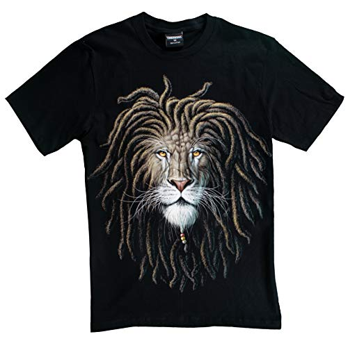 T-Shirt 3D Glow IN Dark Tier Mann Unisex (Small, Lion with ()