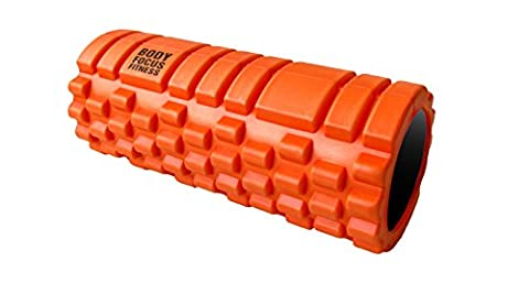 Foam Roller with Grid Design + FREE Ultimate Guide - Body Focus Fitness® Deep Tissue Massage, Trigger Point Relief, Myofascial Release - Best for Yoga, Pilates, Recovery, Rugby, Core Workout -33cmx14cm- 100% Guaranteed Satisfaction