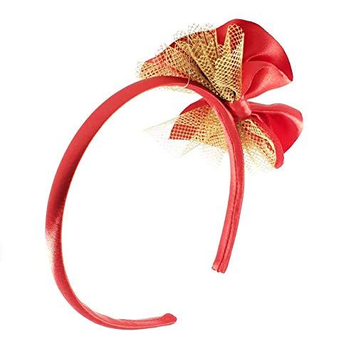 Cerchietto per capelli bambina fatto a mano in raso con fiocco rosso ... 43fe8cf8f9dd