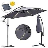 wolketon Alu Ampelschirm Ø 300cm mit Solar LED Warmweiß Beleuchtung UV-Schutz 30+ Wasserabweisende Bespannung - Sonnenschirm Schirm Gartenschirm Marktschirm Kurbelschirm