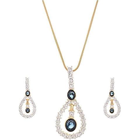 Sempre pendente collana placcata oro 18K due Tono Blu Royal Gabriella Londra con Design orecchini in cristalli austriaci AAA per ragazza e donna