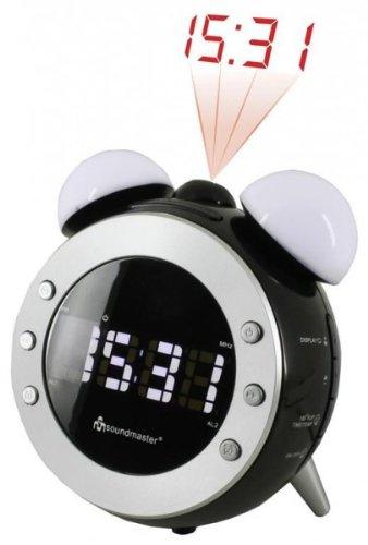 Soundmaster UR 140SW-FM Uhrenradio mit Projektion und dimmbaren Nacht - Aufwachlicht