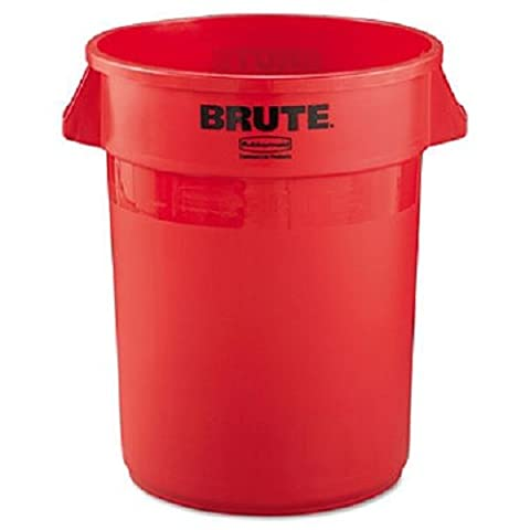 - Brute Refuse Container, Round, Plastic, 32 gal, Red