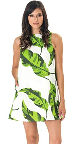 Sexy Sans Manche Banana Leaf Leaves Modèle Motif Mini Courte Shift Straight Ligne Droite Boxy Dress Robe Blanc Vert Blanc Vert