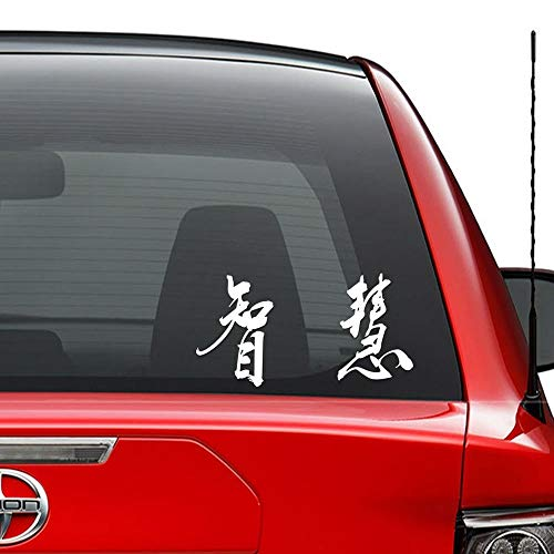 JIXIAN Chinesische Kalligraphie Symbol Weisheit Vinyl vorgestanzte Aufkleber für Windows Wand Dekor Auto LKW Fahrzeug Motorrad Helm Laptop und mehr - (Größe 6 Zoll / 15 cm breit) / (Farbe Glanz Schwar (Für Symbol Chinesisches Weisheit)