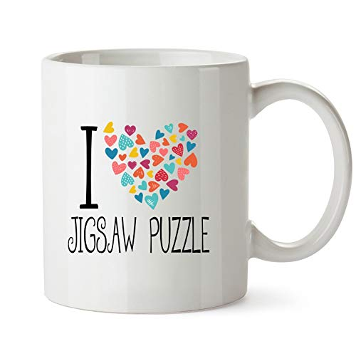 Idakoos I Love Jigsaw Puzzle Colorful Hearts - Ocio - Taza