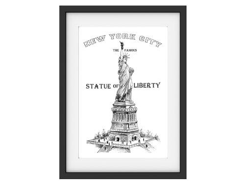 Shabby Druck Kunstdruck FREIHEITSSTATUE NEW YORK Vintage Art Print Bild Poster (A4)