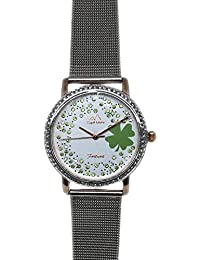 Capri MAR Reloj de Mujer colección Suerte Trébol con Esfera en Brillantes Cinturino Argento Acciaio