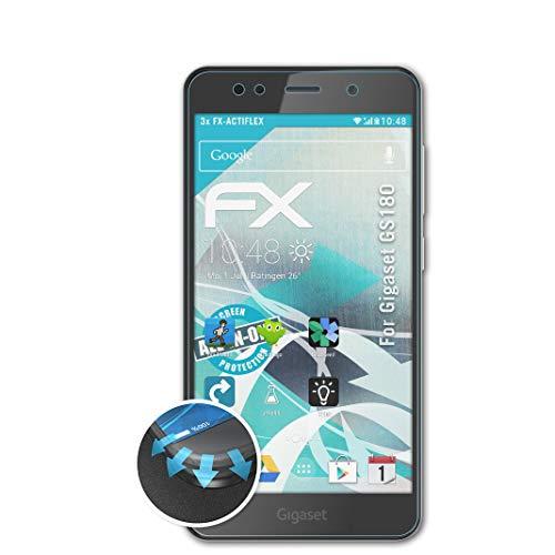 atFolix Schutzfolie passend für Gigaset GS180 Folie, ultraklare & Flexible FX Bildschirmschutzfolie (3X)