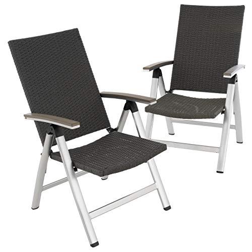 Nexos 2er Set Gartenstuhl mit Armlehnen Aluminium Polyrattan Klappstuhl 101x61x72 cm Gartenmöbel - pflegeleicht witterungsbeständig - Farbe: grau