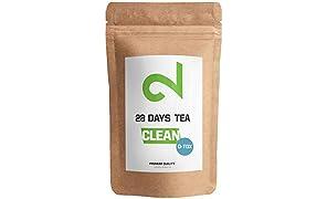 DUAL 28 Tage D-tox Tee Kur | Tee Zum Abnehmen & Reinigen | Auch Ohne Sport | D-Tox & Clean | Grüner Tee Enthalten| Für: Gewichtsreduktion, Schlankheitskur, Entgiftung Und Diät | Entschlackungstee | Reinigungstee | Loser Blatt-Tee | Hergestellt in Deutschland
