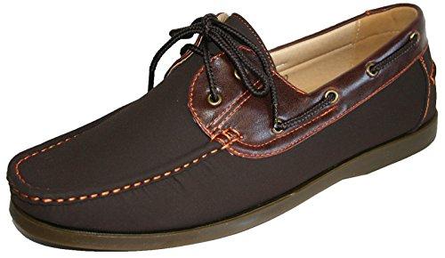 Coolers chaussures mocassins pour homme en simili cuir nubuck, à lacets style bateau, tailles 40 – 45 Marron