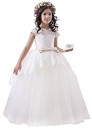 princhar Lace Tulle Flower Girl DressJunior Bridesmaids ...