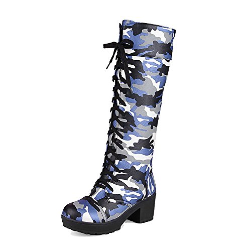 VogueZone009 Damen Rund Zehe Gemischte Farbe Hoch-Spitze Mittler Absatz Stiefel mit Knoten, Blau, 39