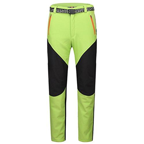 YiLianDa Pantaloni da Trekking Uomo Invernali Donna Pantaloni Softshell All'aperto Impermeabili Verde