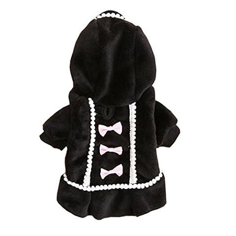 Angelof Hiver Pet Chien Chiot Chaud Pull à Capuche Bow Coton Doux Manteau VêTements Outwear (XS, Noir)