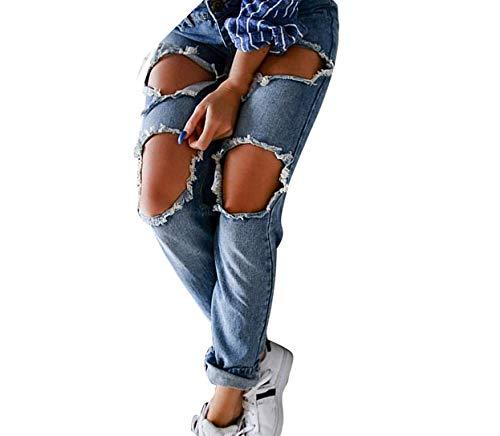 Qiusa Joggers para Mujer Jeans Ajustados Pantalones elásticos Delgados Mallas de Yoga Pantalones Holgados Holgados Regulares Holgados Pantalones Deportivos Grandes, Casual Denim Ripped Mid Waist