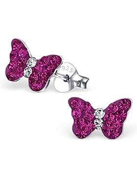 Unbespielt Schmuck Ohrschmuck Ohrringe Silber 925 Ohrstecker Schmetterling klein für Damen oder Kinder 9 x 5 mm...