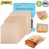 XREXS Non-Stick Wiederverwendbare Toastabags Waschbar 10 Stück Teflon Toaster Beutel für Toast Sandwich Panini Snacks, Sandwich-Bag Anzug für Mikrowelle Grill Toaster LFGB Zertifizierung