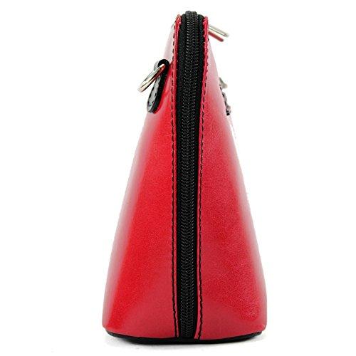 modamoda de -. borsa in pelle ital piccole signore borsa tracolla bag Città bovina T94 Rot/Schwarz