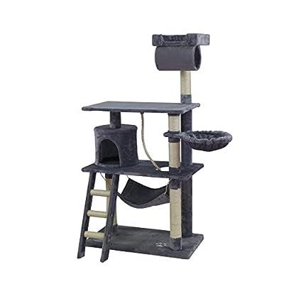 Cat Tree Scratching Post Activity Centre Cat Scratcher Castle Toy 141cm (Beige, Grey)