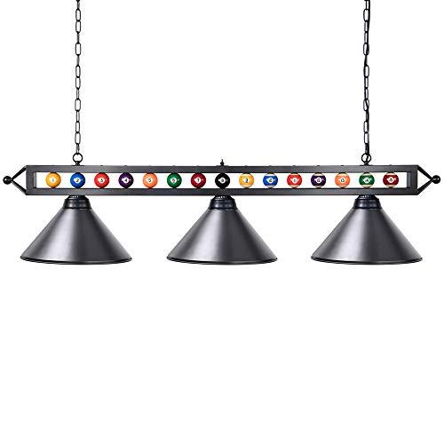 Billardlampe, Wellmet 3-Licht Kücheninsel Pendelleuchte, 1,5m Billardtischlampe geeignet für 2,13-2,74m Billardtisch, mit Mattem Metallschirm, Schwarz
