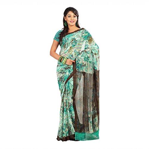 Shaktideal Dailywear light weight printed sarees cream and orange