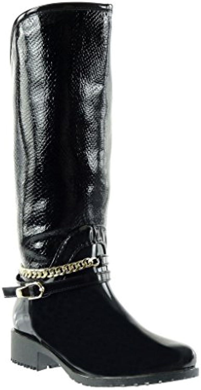 Mode Botte Pluie De Peau Motard Angkorly Cavalier Chaussure Bottes qtn4Ex8wfp