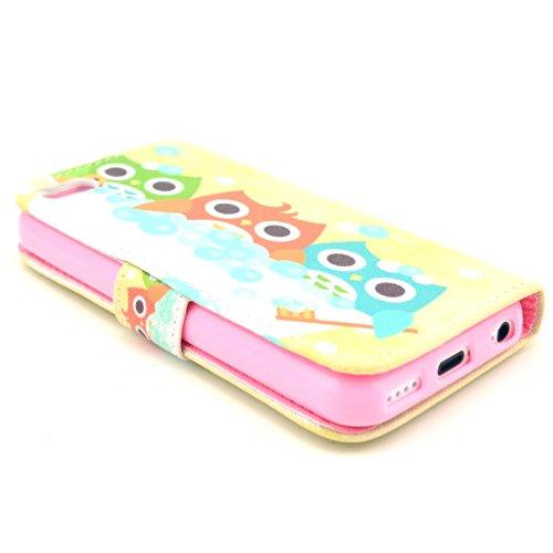 MOONCASE iPhone 5C Case Motif Conception Coque en Cuir Portefeuille Housse de Protection Étui à rabat Case pour iPhone 5C P22