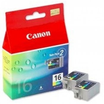 Canon BCI-16 Colour (Twin Pack) Ink Tank for PIXMA iP90/mini220/SELPHY DS700 Printers -
