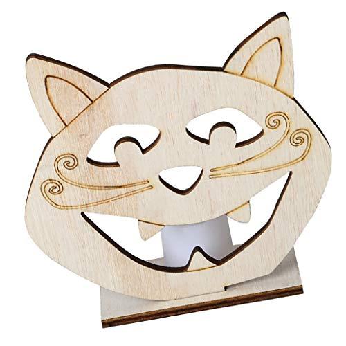 F Fityle Hölzerne Halloween Hohl Tischschilder Tischaufsteller Holzschild Dekoration Schädel Katze Kürbis Design mit LED Licht - Katze