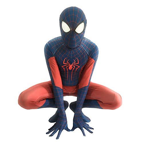 Muster Kostüm Ganzkörper - WERTYUH Kinder Erwachsene Film Cosplay Kostüm Druck Spinne Muster Overall Onesies Spiderman Kostümfestzubehör Cosply,Kids-XS