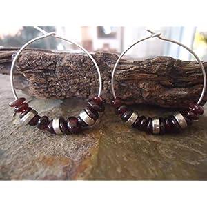 ✿ ROTWEIN CREOLEN ✿ Ohrringe bordeaux im Boho Stil