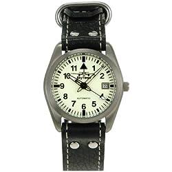 Skytimer 507526006Clock Automatic Miyota 8215Titanium Case Glass Base, 5ATM water resistant, Aviator Leather Bracelet