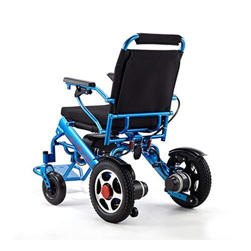 CPDZ Blauer elektrischer Rollstuhl ältere Behinderte Aluminiumlegierung Tragbarer Reise-Stuhl faltbar Eingebauter Sicherheitsgurt Lithium-Batterie 15 km -