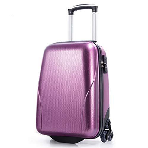 """Nuofake 18 Zoll Frauen Koffer Rad Reisetasche Männer Passwort Cabin Hard Trunk 22 Zoll Rollgepäck Spinner Trolley unsere Koffer (Farbe : Purple, Luggage Size : 18\"""")"""