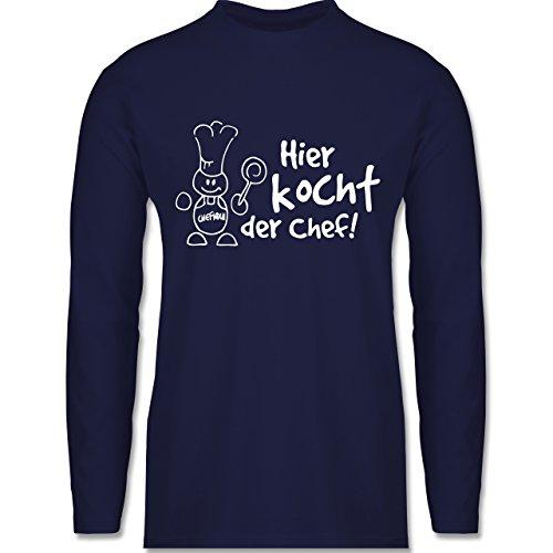 Shirtracer Küche - Hier Kocht der Chef - Herren Langarmshirt Navy Blau