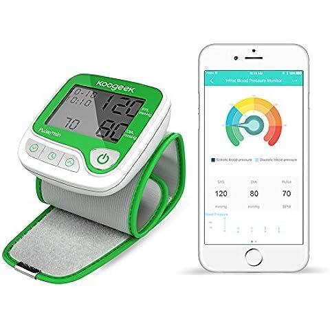 Koogeek Tensiómetro Inteligente de Muñeca Bluetooth Electrónico Monitor de Presión Arterial Medir la Frecuencia Cardíaca Función de memoria con App gratis - IOS & Android