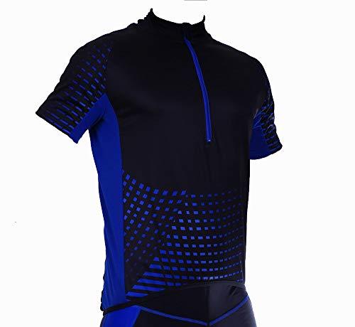Stanteks Kurzarm Herren Damen Unisex Radtrikot Fahrradtrikot Fahrradshirt Funktionsshirt Trikot Thermo Shirt Herren Fahrrad Radsport Reflektoren Jersey Bike Schnelltrokend SR0030 (Schwarz-blau, L)