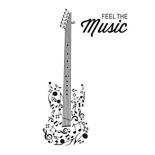 jiushizq Fühlen sie Sich die Musik Gitarre Silhouette wandaufkleber wohnkultur Vinyl selbstklebend DIY kreative wandtattoo abnehmbare wasserdichte tapete 43 cm x 109 cm
