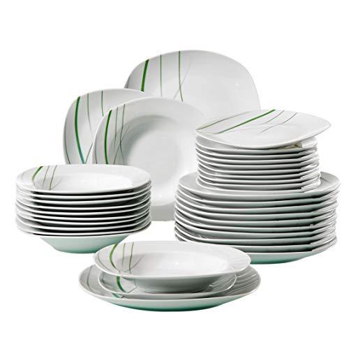 VEWEET, Tafelservice 'Aviva' aus Porzellan 36 teilig | Tellerset für 12 Personen | Mit je 12 Dessertteller, Tiefteller und Flachteller 12 Teller Set