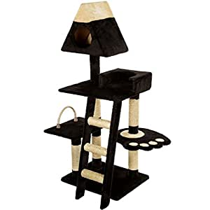 Mool Deluxe Cat Scratching Tree/ Post Activity Centre with 2 Hidey-Holes and 4 Viewing Platforms, 130 cm, Black/ Cream