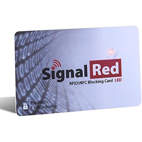 Protector de tarjetas de crédito con luz LED - 1 sola tarjeta bloqueadora de RFID bloquea todas las señales RFID/NFC de tarjetas de crédito y pasaportes; cabe en la cartera y el bolso