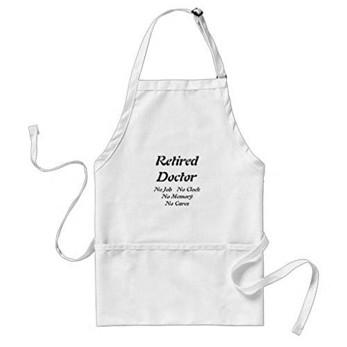Retired Doctor Tablier de cuisine pour femme Motif tabliers pour filles cou réglable Attaches de tour de taille Tablier de cuisine pour homme