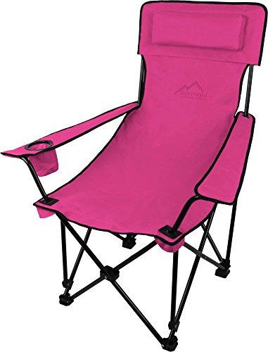 normani Sehr Stabiler Klappstuhl Campingstuhl Angelstuhl mit Getränkehalter, Abnehmbarer Polsterung Tragetasche - bis zu 150 kg Farbe Pink