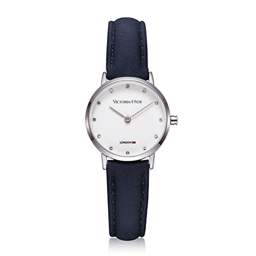 victoria hyde women's quartz wrist watches small dial with rhinestone analogue display deep blue genuine leather strap 3atm water resistant for ladies